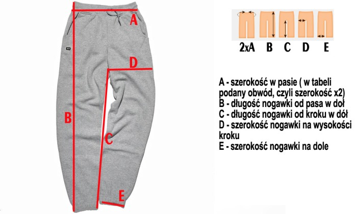 Wymiary spodni w sklepie dopespot.pl