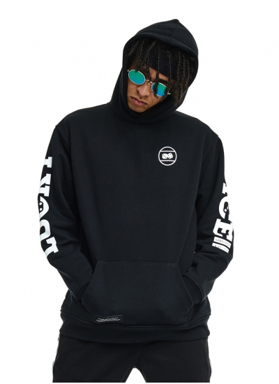 Lucky Dice  Logo On Sleeve Hoodie Blk