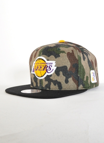 Mitchell & Ness  Flannel Snapback Lakers