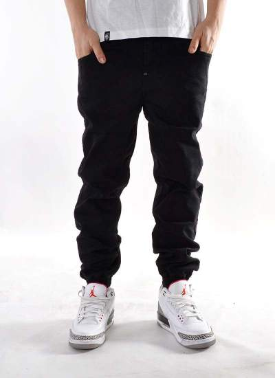 Moro Sport  Big Leather Jogger Jeans Blk